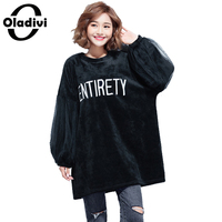 Oladivi Oversized Gold Velvet Short Dress Fashion Women Hoodies Dresses Plus Size Clothing Fashion Ladies Sweatshirt