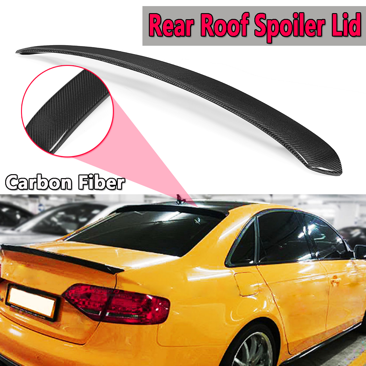 For AUDI A4 S4 B8 Quattro Sedan Models 2009-2016 Real Carbon Fiber Rear Roof Spoiler Lid Rear Wing Spoiler Rear Trunk Roof Wing for audi a3 s3 2014 2015 2016 sedan 4doors high quality carbon fiber rear wing roof rear box decorated rear spoiler