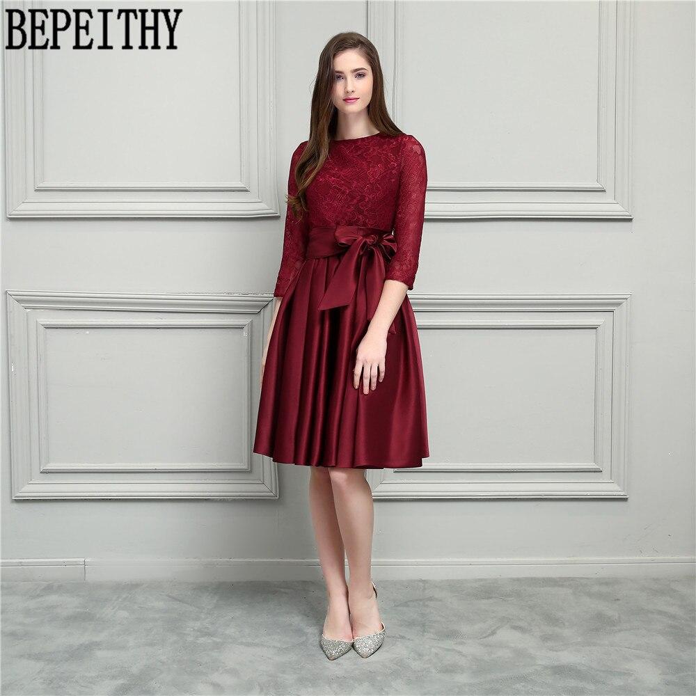 BEPEITHY Nový design Vestido De Festa Longo Scoop dlouhý rukáv luk - Šaty pro svatební hostiny - Fotografie 3