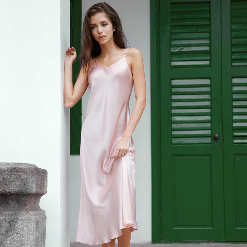 3ac72f7108faf ... Women Sexy Silk Satin Long Night Dress Summer New Sexy Nighty Nightwear  Female V-Neck ...