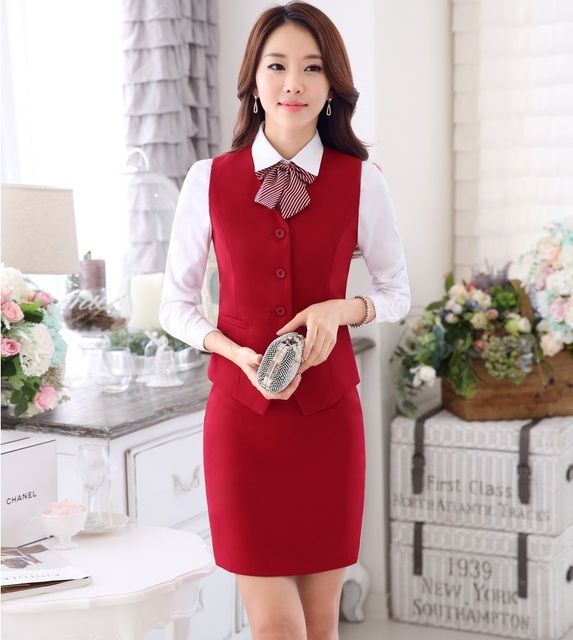 Plus Size Spring Autumn Formal OL Styles Professional Business Suits 3 pieces With Vest + Skirt + Blouses Ladies Office Outfits