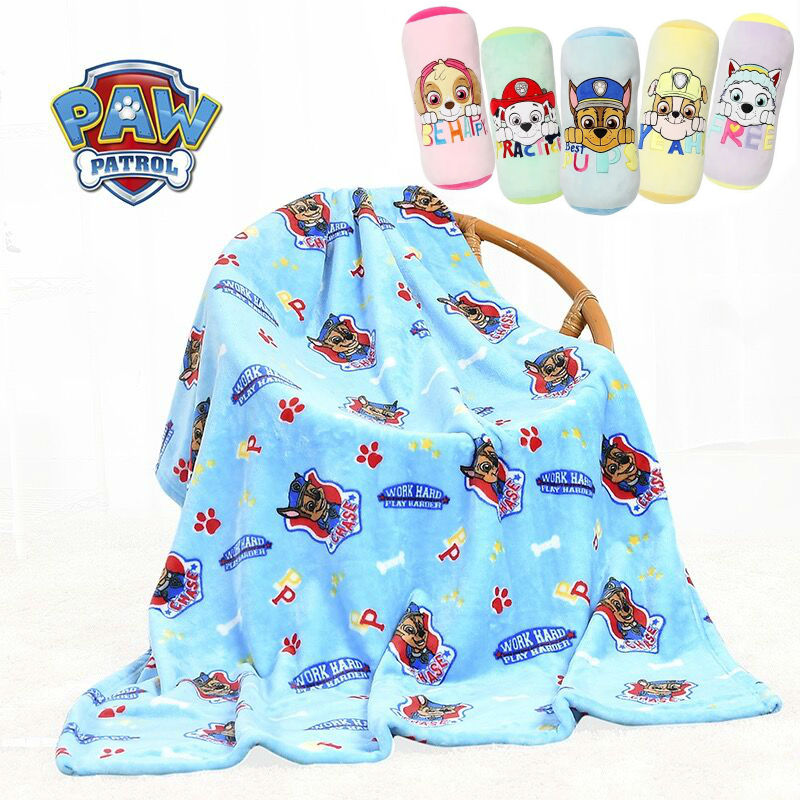 100% Genuine Paw Patrol Chase Cartoon Candy Air Conditioning Multi-function Plush Quilt Kids Kindergarten Blanket Kids Toy