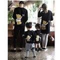 Семья Взгляд! хлопок Семья Соответствия Рубашки Характер Шаблон Печати с длинными Рукавами Отец Сын Рубашки Мода Семья Одежда