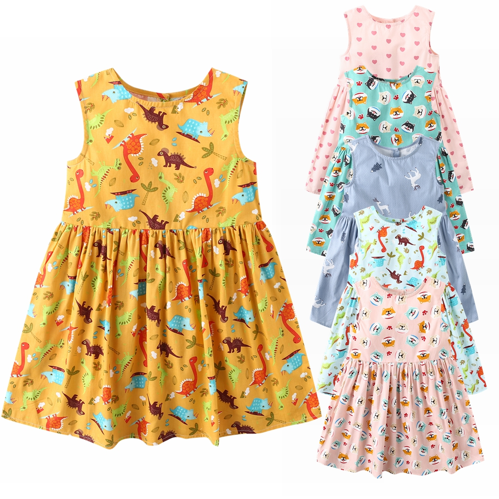 Girls' Clothing Dresses Puseky Summer Girl 12m-5y Cartoon Cute Dinosaur Animal Print Dress Summer Toddler Kids Pageant Princess Casual Beach Dress