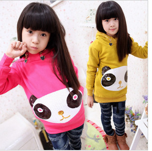 Hot Sale!2013 Free shipping Cute Children's Clothing Autumn Girls Sequins Bear Long Sleeves Girl Hoodies Sweatshirts LQ197