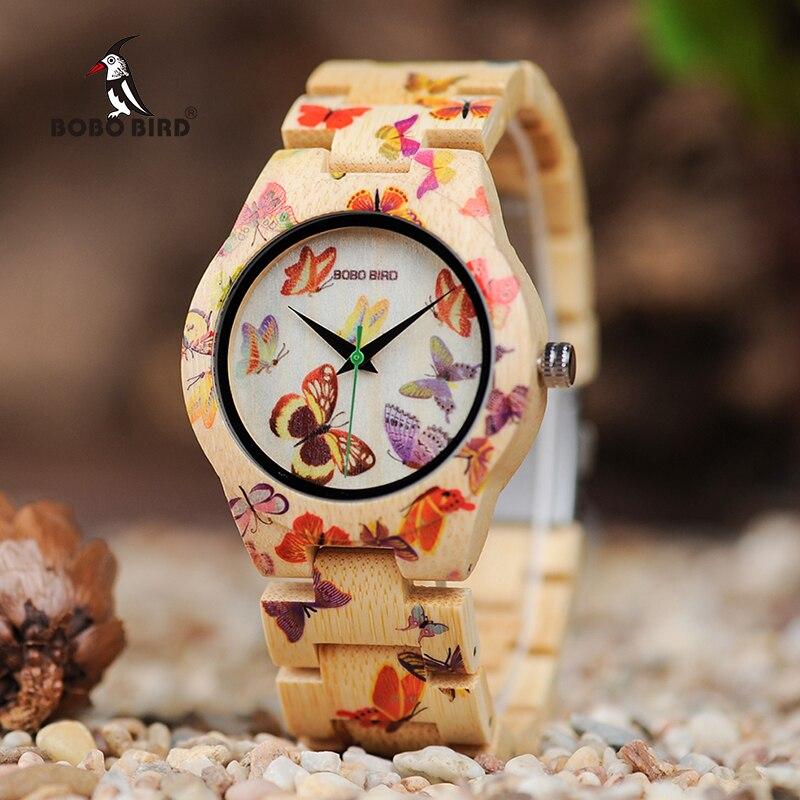 BOBO VOGEL O20 Schmetterling Druck Frauen Uhren Alle Bambus Made Quartz Armbanduhr für Damen in Holz Geschenk Box-in Partneruhren aus Uhren bei title=