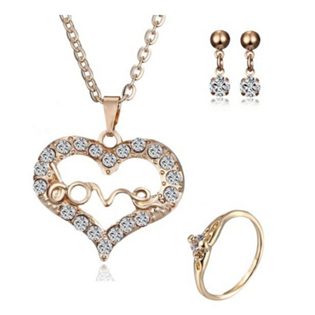 11 styles gold Jewelry Sets Necklace Earring Ring Heart Number water Pendant Nec