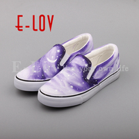 E LOV Fashion Hand Painted Galaxy Stars Canvas Shoes Shinning Starry Sky Casual Slip On Loafers