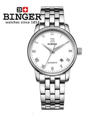 Здесь можно купить   Hot Sales Luxury White Dial Automatic Mechanical Switzerland Brand Handmade Watch Steel strap watches men Binger wristwatches  Часы