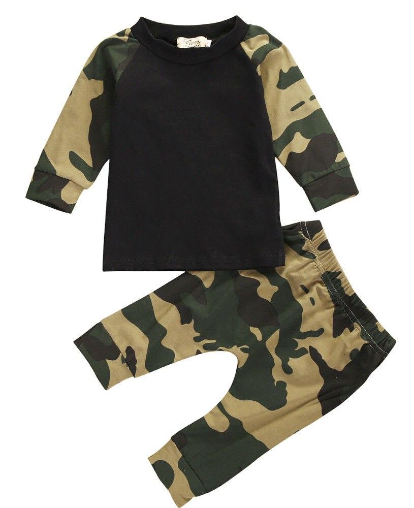 Army Camouflage Baby Boy Girl Set Long Sleeve Top Newborn