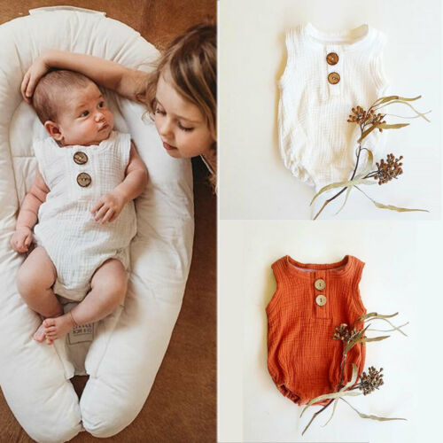 2019 Baby boy Girl summer clothing white orange line cotton Button   Romper   Jumpsuit for Kid clothes toddler Children newborn
