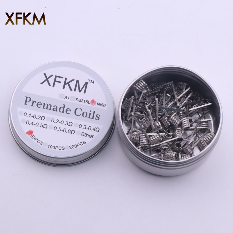XFKM 50/100 Pcs Ni80 Alien Fused Clapton Tiger Mix Flat Twisted Coils Premade Wrap Wires Quad Hive Heating Resistance Coil Ni80