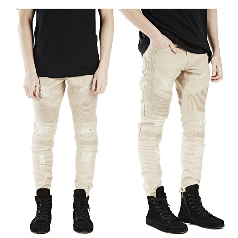 Aliexpress.com : Buy Top Quality Khaki black Biker Jeans Pleated ...