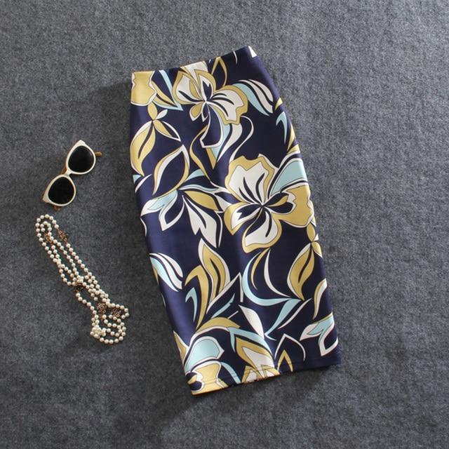 Модные Принт с цветком женские юбки леди миди saias женский Faldas Девушки Тонкий ДН М-XXL Леди Карандаш Bodycon Бесплатная доставка