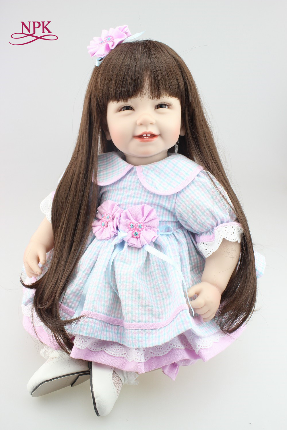 NPK Reborn Baby Doll with long hair Realistic Soft silicone Reborn Babies Girl 22Inch Adorable Bebe Kids Brinquedos boneca Toy npk cute smile baby girl dolls real soft silicone reborn babies 55 cm with fiber hair realistic boneca reborn doll