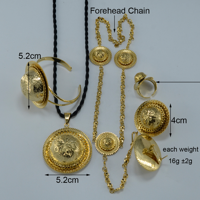Ethiopian Bridal set Wedding  Gold Plated Ethiopia Pendant Rope/Forehead Chain/Earrings/Ring/Bangle Eritrea set Africa Items