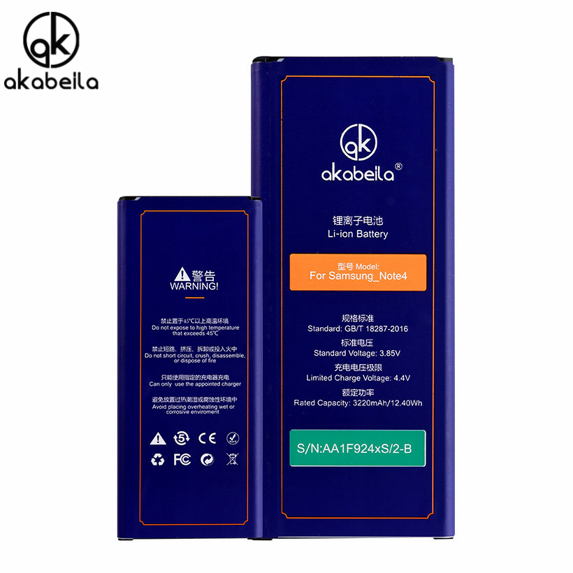 AKABEILA Mobile Phone Battery For Samsung Galaxy NOTE4 NoteIV Note 4 N910 N910S N910L N910K N910F N910U N9108 Li-on Batteries
