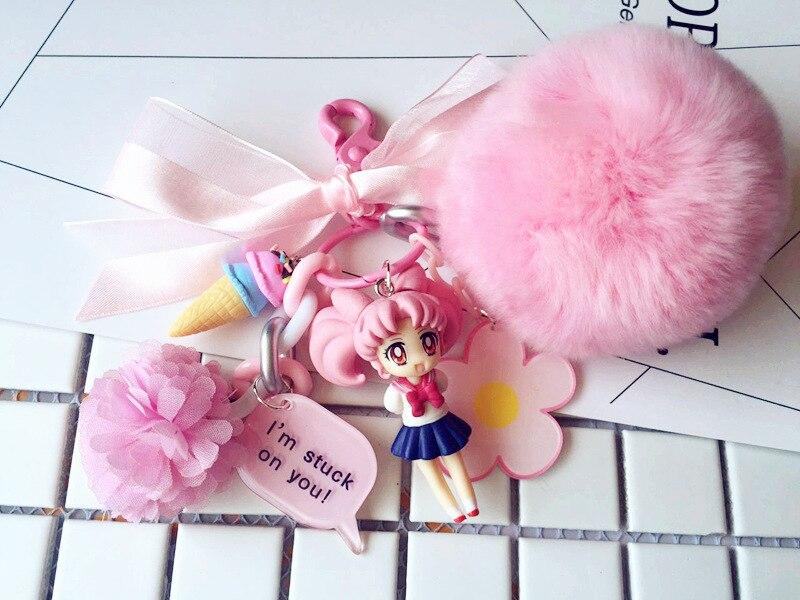 Японский Сейлор Мун брелок воды лед луна Мультяшные плюшевые ключей автомобиля Для женщин кулон сумка висит помпонами из кроличьего меха брелок в подарок|Брелоки|   | АлиЭкспресс