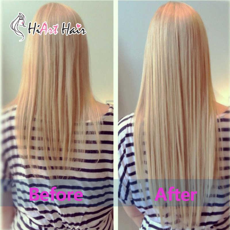 """HiArt волос 1 г/шт. плоским наконечником волос 100% натуральная человеческих волос предварительно таможенного салон натуральная кутикулы Горячее наращивание волос #60 прямые 18 """"20"""" 22"""""""