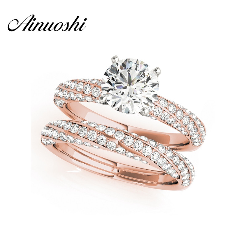AINUOSHI 925 Sterling Silver Rose Gold Color Twisted Anniversary Ring Sets Sona 1ct Round Cut Wedding Engagement Ring Sets Gifts цена 2017