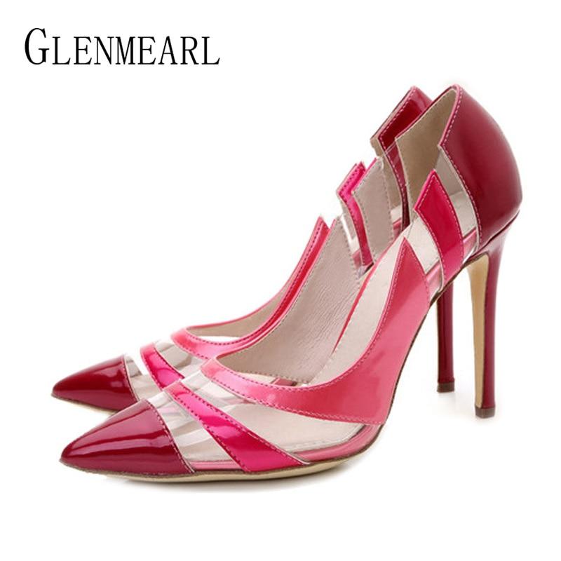 Women Pumps High Heels Shoes Pointed Toe PVC Transparent Royal Blue Dress Shoes Woman Spring Autumn Party Shoes Ladies Plus Size Lahore