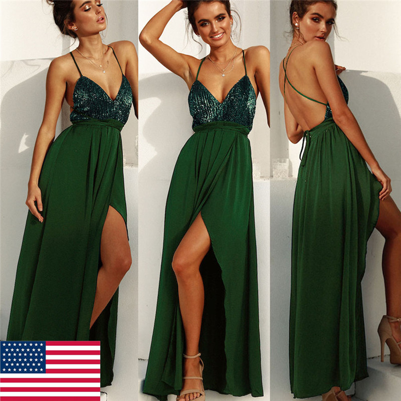 Women's fashion sexy sequins v-neck green maxi dress high split long evening party dress vestidos de fiesta de noche