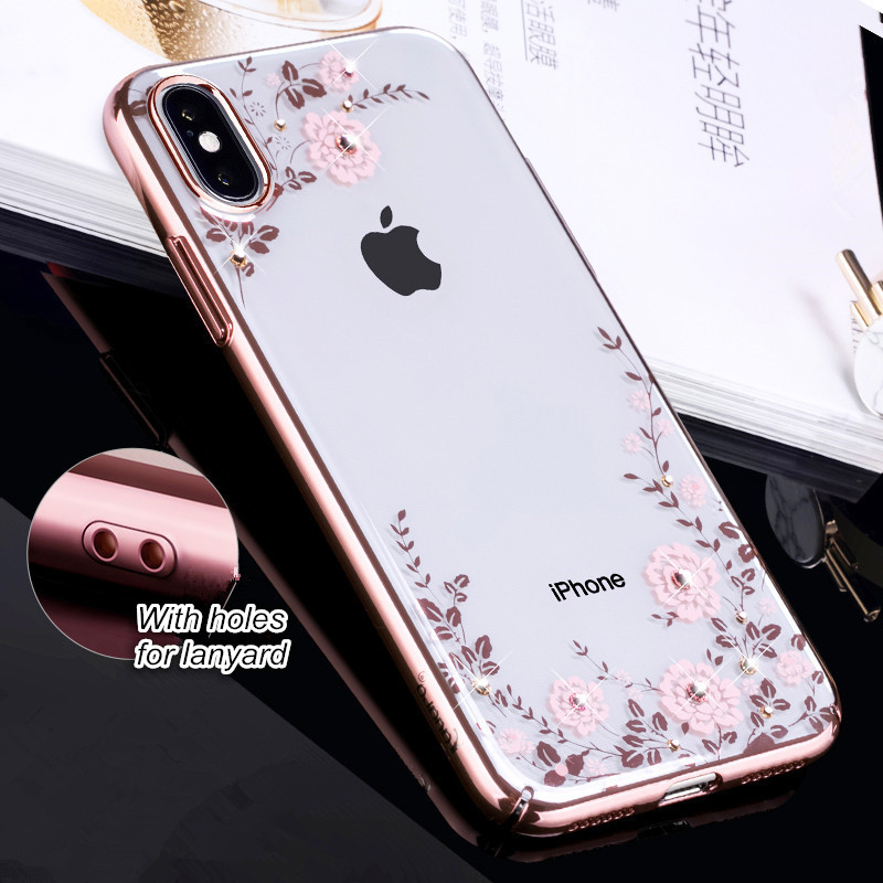 buy popular e5b98 c84e4 US $14.99 |KINGXBAR for iPhone X 10 Case iPhoneX Cover Luxury Swarovski  Element Crystals Diamond PC Hard Flower Coque for iPhone 10 Cover-in ...