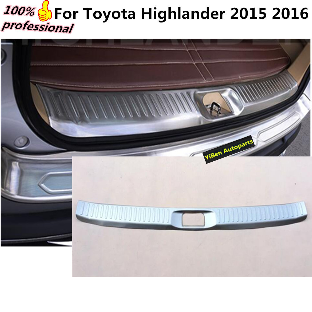 Car styling cover stainless steel inner built rear bumper protector trim plate lamp pedal 1pcs for toyota highlander 2015 2016