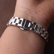 Solid links metal watchband straight interface band woman Stainless steel bracelet 10mm 12mm 14mm 15mm 16mm 17mm  watches straps