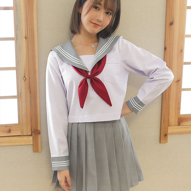 New Sale Japanese Sailor Uniform White Shirt Grayish Pleated Skirt Suits Japan Korea Girls School Uniforms