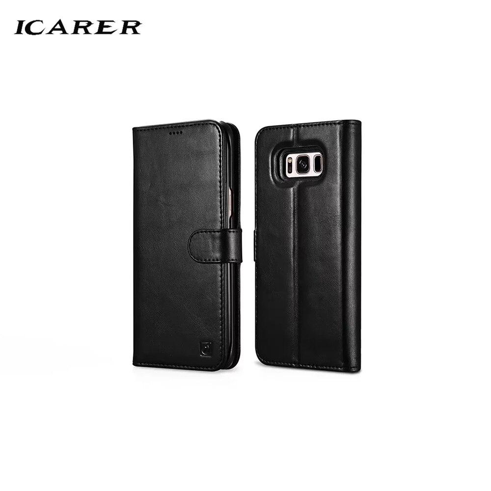 ICarer 2017 Nouveau Pour Samsung S8 Plus Véritable Étui En Cuir Dur de Luxe porte-carte Armure Flip Arrière Protecteur housse de téléphone