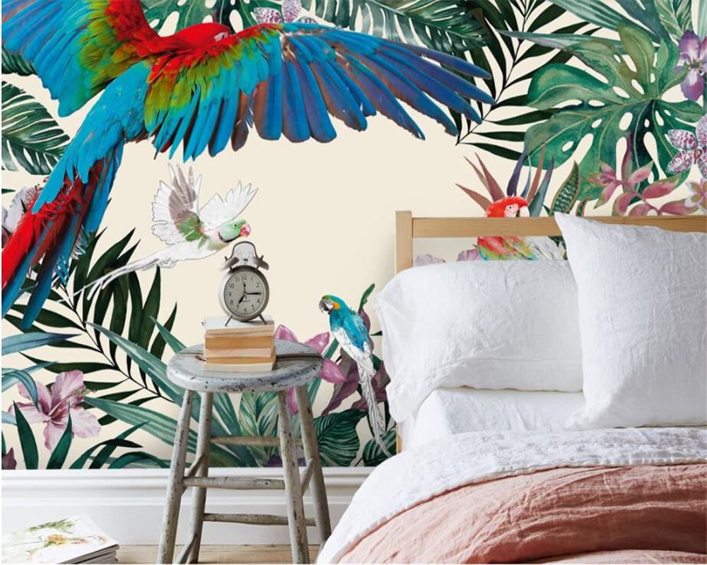 Beibehang Custom children room wall 3d wallpaper hand painted tropical rainforest plant parrot background wall paper murals in Wallpapers from Home Improvement