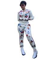 2016 Autumn Butterfly Flower Floral Print 2 Piece Set Women Jumpsuit And Rompers Casual Sport Suit