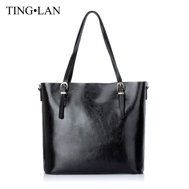 TINGLAN Brand Women Handbags Real Cow Leather Ladies Shoulder Tote Bag Genuine Leather Large Capacity Handbag Female Black Brown brand designer large capacity ladies brown black beige casual tote shoulder bag handbags for women lady female bolsa feminina