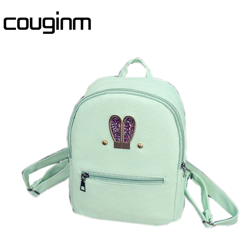 COUGINM Cute Style Mini Shoulder Bag High Quality PU Leather Fashion Hardware Rabbit Image Candy Color Small Backpack Female Bag new fashion women backpack korea high quality pu leather candy color college shoulder bag sweet girl traveling small female bag