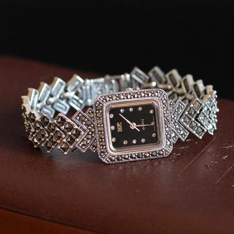 Relógio de Quartzo Pulseira de Prata Qualidade Superior Feminino Real Prata S925 Relógio Quadrado Pura Relógios