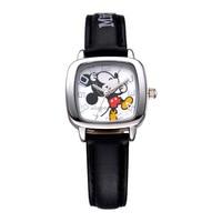 Disney Brand Children S Wrist Watch Boy Mickey Square 30m Waterproof Quartz Watch Leather Japan MIYOTA