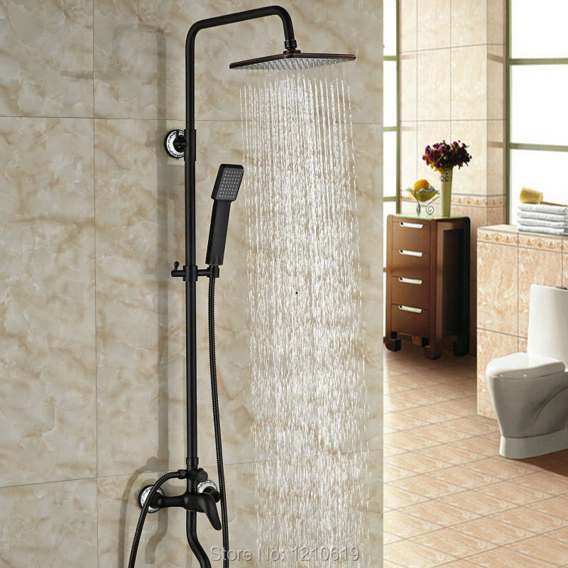Newly Oil Rubbed Bronze Bathroom Shower Faucet Set w/ Handheld Shower Wall Mounted Shower Mixer Faucet Single Handle