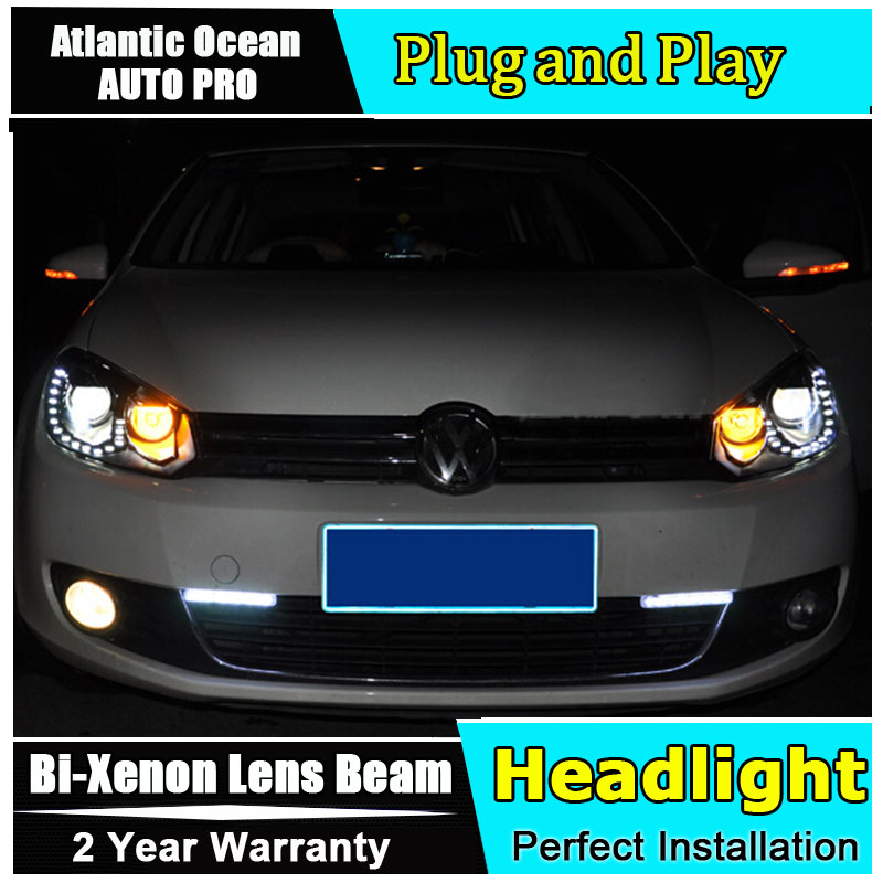 AUTO.PRO 2009-2013 For vw golf 6 xenon headlights car styling bi xenon lens 15 led DRL for vw golf mk6 head lamps H7 parking led headlights for vw volkswagen golf 6 mk6 2010 2014 uu type drl led headlights demon eyes