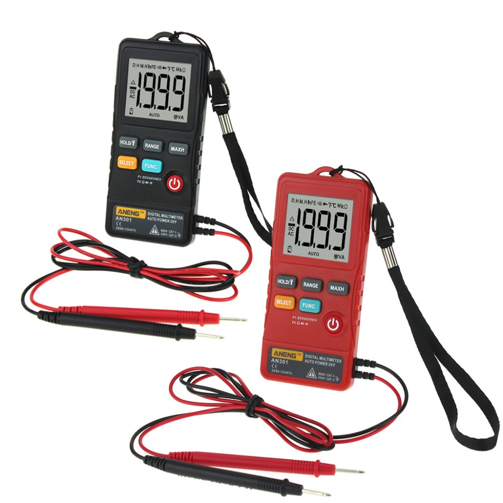 ANENG AN301 Mini Digital Multimeter 1999 Counts Portable AC DC Voltmeter Resistance Ammeter Meter Tester With LED Light