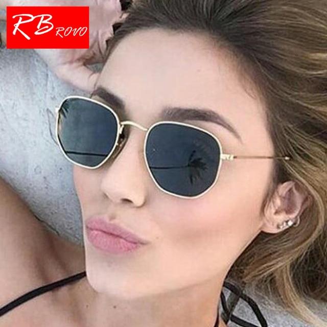 a378c8774b945 Poligonal RBROVO 2018 Verão Óculos de Sol Das Mulheres Dos Homens Senhora  UV400 Luxo Retro Espelho