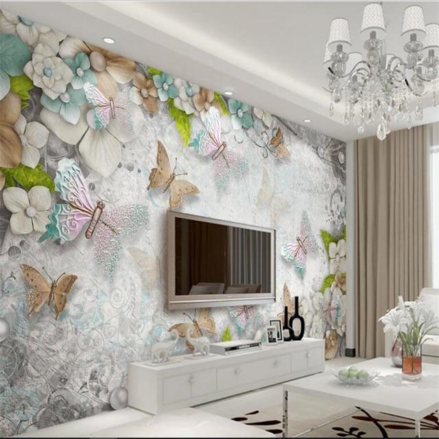 Beibehang Besar Wallpaper Kustom Cantik Mediterania Erfly Bunga Mutiara Ruang Tamu Sofa Tv Dinding