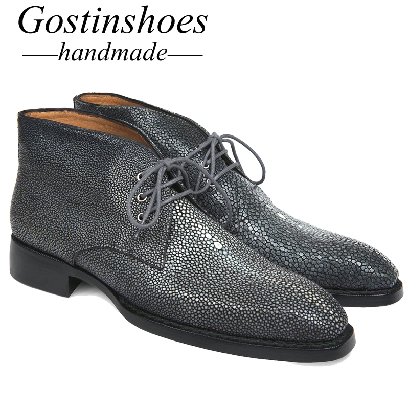 GOSTINSHOES HANDMADE Goodyear Welted Luxury Men Boots Handmade Stingray Skin Upper Fashion Work Safty Ankle Boots Lace Up SCF19 in Work Safety Boots from Shoes
