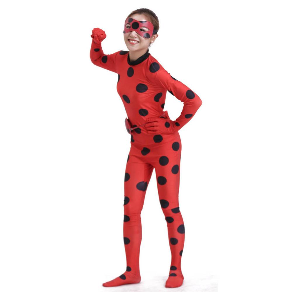 Crianças Cat Noir Cosplay Catsuit Traje Contos de Joaninha Joaninha Joaninha Romper Costume Red Polka Dots Catsuits Zentai de Corpo Inteiro