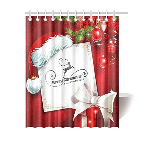 Christmas Greeting Home Decor, Red Ball Santa Hat Gift Polyester Fabric Shower Curtain Bathroom Sets 60 X 72 Inches