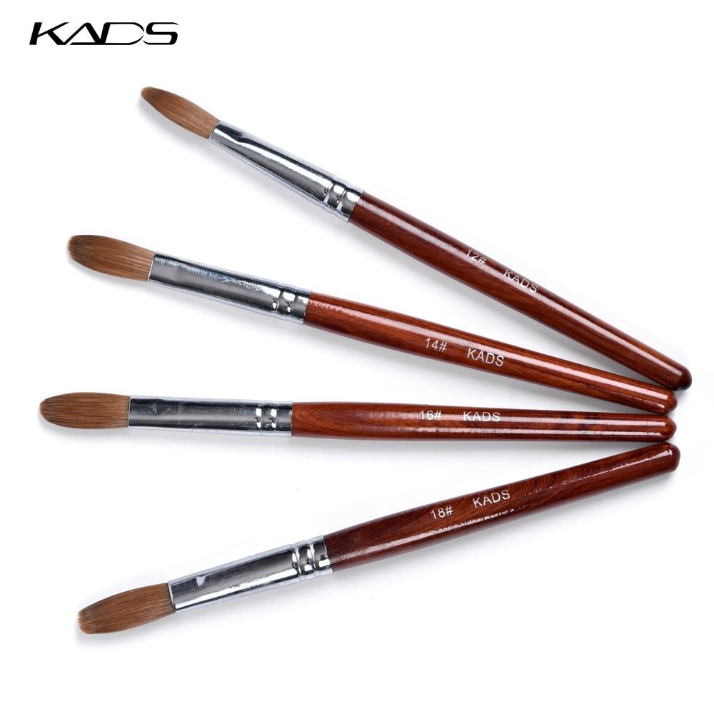 4 pièce/ensemble 100% Kolinsky Sable brosse Nail Art brosse pour ongles Gel constructeur rouge bois poignée ronde tête plate acrylique sertie brosse