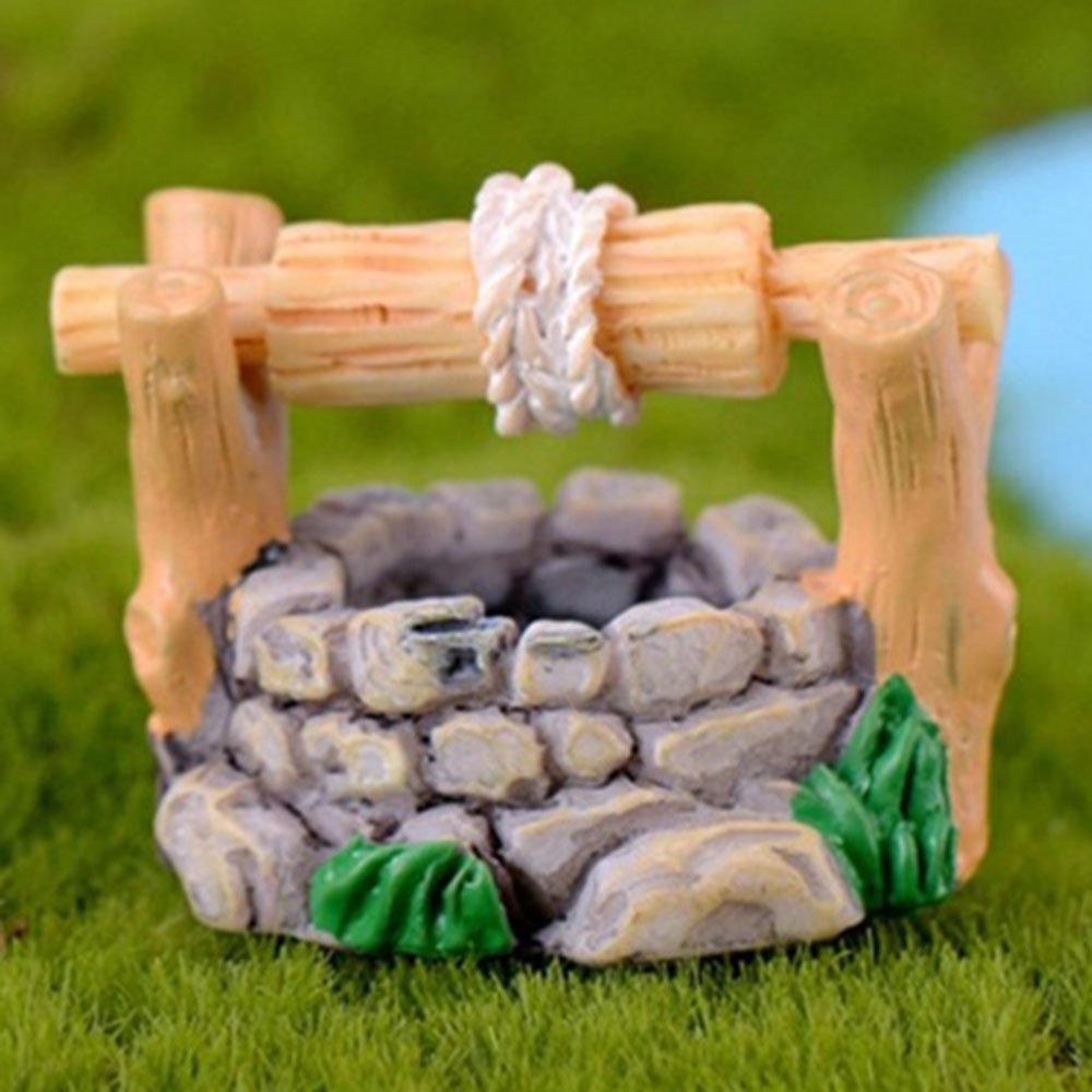 Image 2 - 1pc DIY Garden Miniatures Decorations Vintage House Water Well Multicolour Fairy Garden Party Ornament-in Figurines & Miniatures from Home & Garden