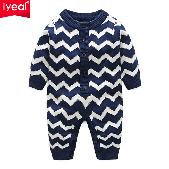 IYEAL Newborn Baby Boys Girl Rompers Cotton Knitted Geometric Pattern Kids Infant Overalls Children Jumpsuit Toddler Clothes