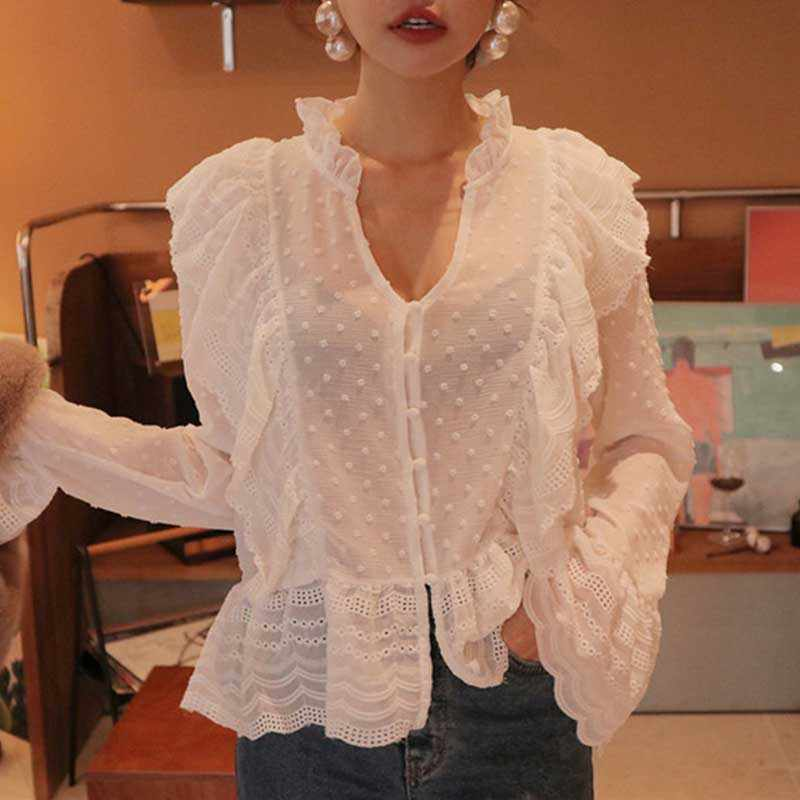 Lace Ruffle Hollow Shirt Blouses For Women Long Sleeve Slim Sexy Deep V Neck Girl Blouses Shirt For Female 2019 New Fashion