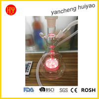 LED clear color glass hookah art design smoking party bar high quality silicon hose and glass mouth piece